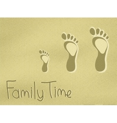 Family footprints on the sand vector