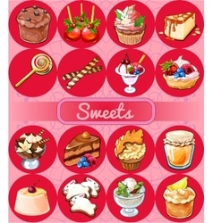 Great set of sweets and pastries vector