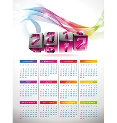 calendar design 2012 with swirl cubes design vector image