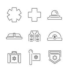 Line icons medical ambulance equipment set icons vector