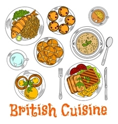 Colorful sketch of english sunday dinner vector