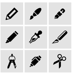 Black stationery and painting icon set vector