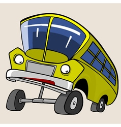 Cartoon character yellow bus reared vector
