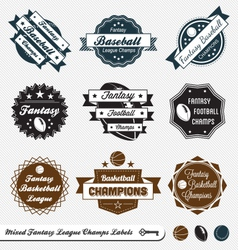 Mixed fantasy sports labels vector
