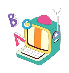 A computer is placed vector image vector image