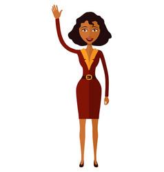 African american woman waving her hand cartoon vector
