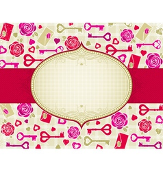 beige valentine background with pink and red heart vector image