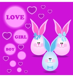 Card with bunny for invitations greeting vector image