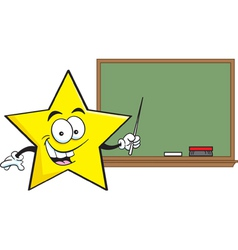 Cartoon star with a black board vector image
