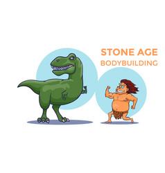 cartoon stone age bodybuilding competition vector image vector image
