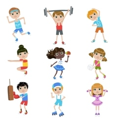 Children Doing Sports Set vector image