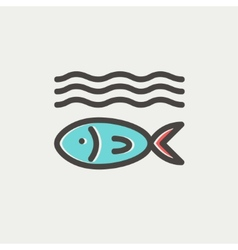 Fish under water thin line icon vector image