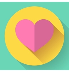 Flat heart icon vector image vector image
