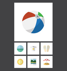 Flat icon season set of ocean reminders parasol vector