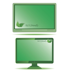 Green monitor vector image