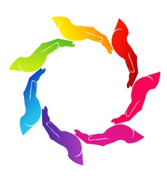 Hands helping colorful logo vector image vector image
