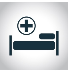 Hospital flat black icon vector image