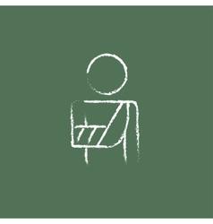Injured man icon drawn in chalk vector