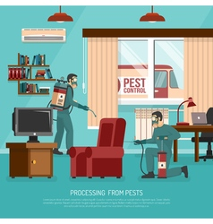 Interior pest control treatment flat advertisement vector