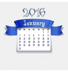 January 2016 calendar template vector image