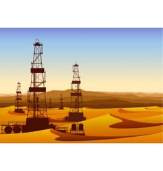 Landscape whith oil rigs in barren desert with vector