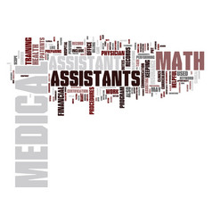 Math for medical assistants text background word vector