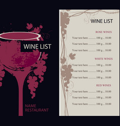 menu for wine list with glass and grapes vector image vector image