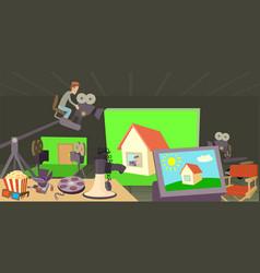 Movie cinema horizontal banner cartoon style vector