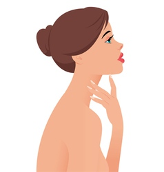Portrait of the beautiful naked girl in profile vector