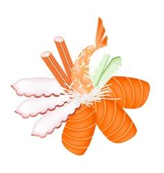 Seafood sashimi with chopsticks vector