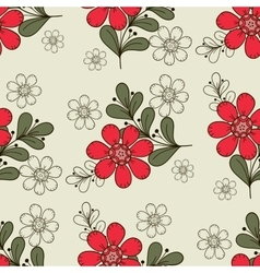 Seamless Pattern Red Flowers vector image vector image