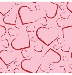 Seamless pattern with red hearts on pink vector image vector image