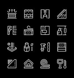 Set line icons of insulation vector