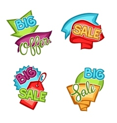 Set of sale banners tags and labels in cartoon vector