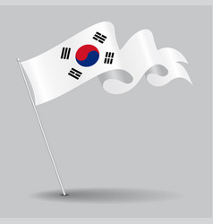 South korean pin wavy flag vector