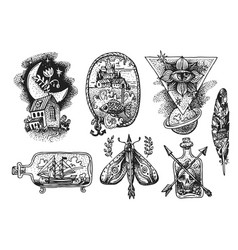 tattoo element sketch vector image vector image