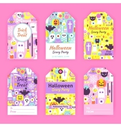 Trendy halloween gift tag labels vector