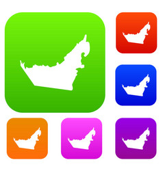 united arab emirates map set collection vector image