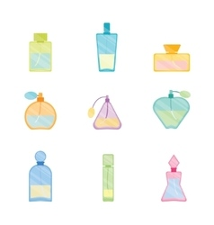 Vintage perfume bottle color set vector