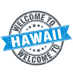 Welcome to hawaii blue round vintage stamp vector