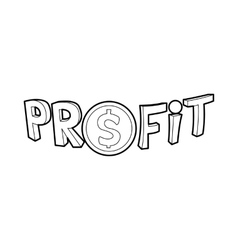 Profit word with a dollar sign icon outline style vector