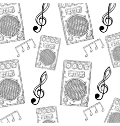 Sound speaker stereo system and music notes vector
