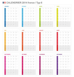 Calendar 2014 french type 6 vector