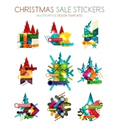 Christmas sale stickers and labels vector