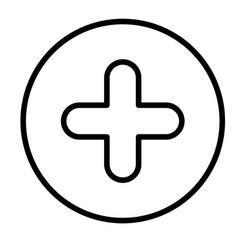 Monochrome contour circular with plus icon close vector