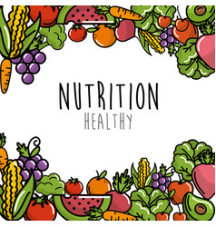 Fruits and vegetables with protein food background vector