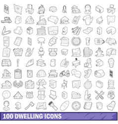 100 dwelling icons set outline style vector