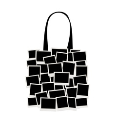 Shopping bag made from photo frames for your vector