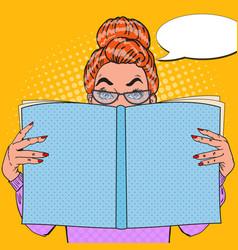 Pop art surprised woman reading book vector