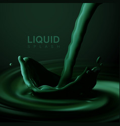 Green liquid crown splash vector